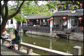 Ein Restaurant am Kanal in Zhouzhuang